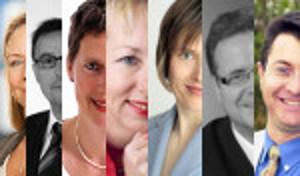 Collage mit den Kommunikations-Experten Aimée Bastian, Helmut Ebert, Monika Geisler, Gabriele Krischel, Korina Schulz, Carsten Seim und Wilhelm Streit