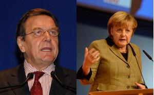 Portraitfotos von Gerhard Schröder und Angela Merkel
