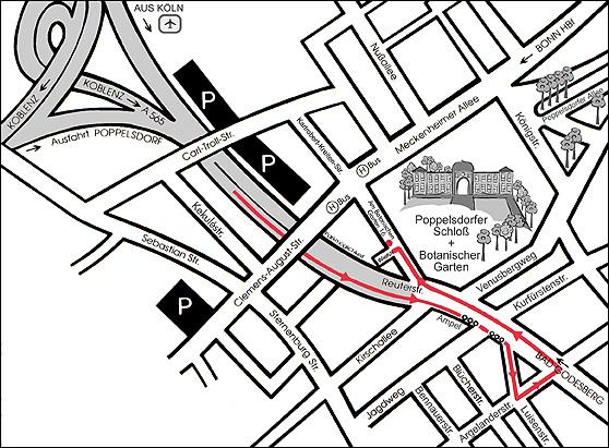 Anfahrtskizze zu unserer Akademie in Bonn-Poppelsdorf